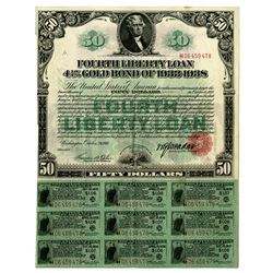 Fourth Liberty Loan, $50 4 1/4% Gold Bond of 1933-1938.
