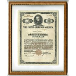 Fourth Liberty Loan, $100 Registered Bond, Issued 1918 to Grover C. Criswell, Grover's Father.