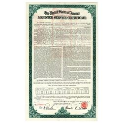 U.S.A. Adjusted Service Certificate, 1925, World War Adjusted Compensation Act Certificate.