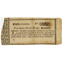 Providence Great-Bridge Lottery, 1790 Lottery Ticket.