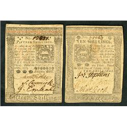 Pennsylvania Colonial Notes. October 1, 1773. 10 and 15 Shillings.
