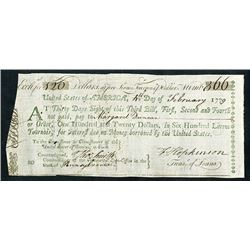 United States of America, Third Bill of Exchange, 1779, Signed by Francis Hopkinson - Signer of the