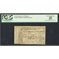 South Carolina Colonial Currency, April 10, 1778 Colonial Banknote.