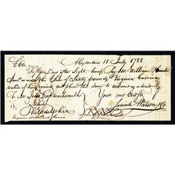 Josiah Watson handwritten note for 60 Pounds, Virginia Currency.