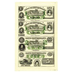 Bank of New England, 18xx, ca.1850's,  Uncut Sheet of 4 Banknotes