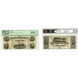 City Bank of New Haven, ca. 1840-50's, Pair of Remainder Obsolete Banknotes