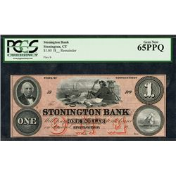 Stonington Bank, ND (18xx) ca.1850's, Remainder Obsolete Note