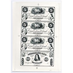 Cumberland Bank Uncut Sheet of 4 Proofs.