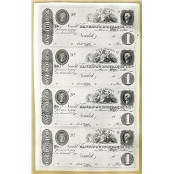 Newark Banking & Insurance Co. Uncut Proof Sheet $1-$1-$1-$1.