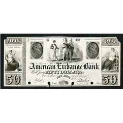 American Exchange Bank, ca.1930's (1831 written in) Proof Obsolete Banknote.