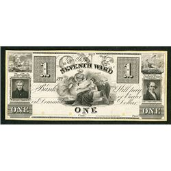 Seventh Ward Bank, 18xx (ca.1830's) Proof Obsolete Banknote.