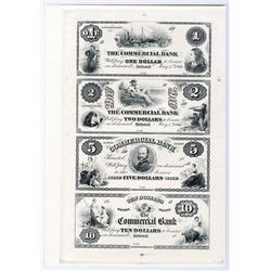 Commercial Bank Uncut Sheet of 4 Proofs.