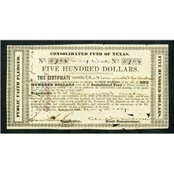 "Consolidated Fund of Texas, 1839, ""Duplicate"" 5 Shares = $500 / Public Faith Pledge Note."