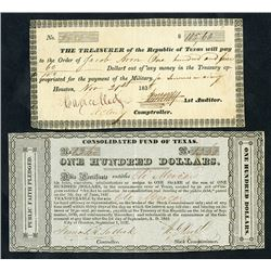 Republic of Texas & Consolidated Fund of Texas, 1837-1838, Check and Public Faith Pledge Pair