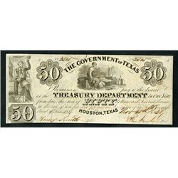 Government of Texas Treasury Note, 1838, Obsolete Note Signed by Sam Houston.