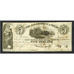Government of Texas, 1839, Obsolete Note Signed by Sam Houston