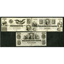 Presidents Bank, 1852 Remainder Obsolete Banknote Trio.