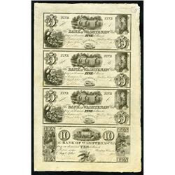 Bank of Washtenaw, Uncut Sheet of 4 Obsolete Banknotes, Partially Issued.