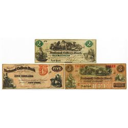 Bryant & Stranton's National College Bank, ca.1860's College Currency Trio.
