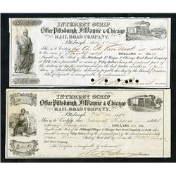 Office Pittsburgh, Ft. Wayne & Chicago, Interest Scrip, 1857 to 1862 Obsolete Scrip Note Pair.