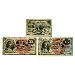 U.S. Fractional Currency, 4th Issue Pair & 3rd Issue Note.