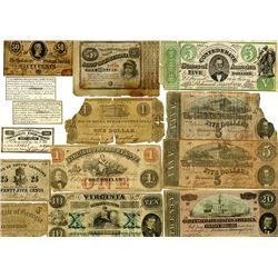 Confederate States of America and Southern Issues, 1862-1864, Assortment of 14 Issued Notes