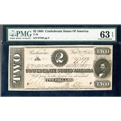 Confederate States of America, 1864 $2, T-70, Issued Banknote.