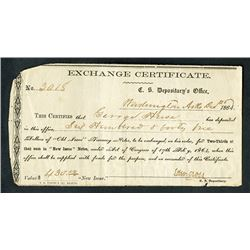 Confederate States, C.S. Depository's Office, 1864, Exchange Certificate