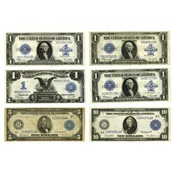 U.S. Silver Certificate and Federal Reserve Notes, 1899-1923, Group of 6