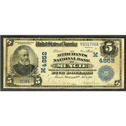 Merchants National Bank of Muncie. $5, Charter #M4852, Series of 1902 Date Back, Second Issue. Blue