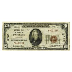 National Banknotes, $20 Ch. 12383. 1929 Type 1, National Bank of America, Patterson, NJ.