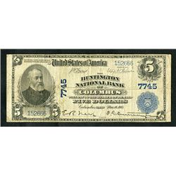 National Banknotes, 1902, $5 Ch. 7745. Huntington National Bank, Columbus, OH.