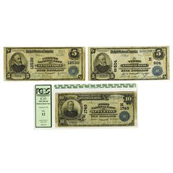 National Banknotes, 1902, Trio of Issued Notes