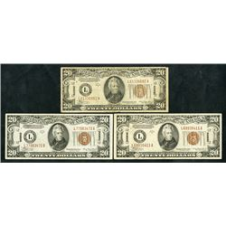 Federal Reserve Note, Series 1934 A, Trio of Hawaii Notes