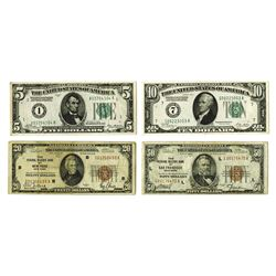 Federal Reserve and National Currency Notes, 1928-1929, Quartet of Notes