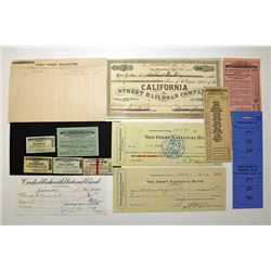 Sierra Railway Company, ca. 1890-1920 Ticket and Check Assortment.