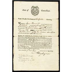 Litchfield, Connecticut, 1804 Arrest Warrant for Outstanding Tax Debt.