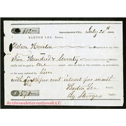 Barton Bank 1850 Deposit Slip Dated July 20th, 1850, Almost 6 weeks before California Received State