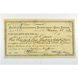 Board of Commissioners Pontchartrain Levee District, 1893 Check or Warrant.