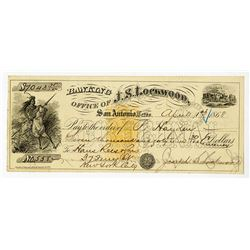 Banking Office of J.S. Lockwood, 1868 Issued Check with RN-B1 Imprinted Revenue.