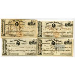 "Post Office Department ""Transportation of the Mails"", 1849-1857 Warrant Quartet."
