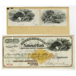 "Rocky Mountain National Bank, 1877 Draft with Imprinted RN-G1 Revenue with Matching Proof ""Bear figh"