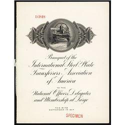 Banquet of the International Steel Plate Transferors Association.
