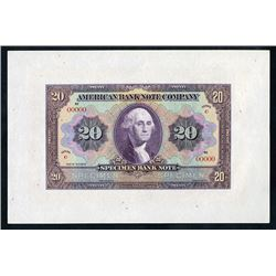 "American Bank Note Company ""20 Specimen Bank Note"" Specimen Advertising Note."