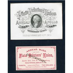 "Annual Ball Plate Printers' Union, 1873 ""Gentleman's Ticket"" Coated Card Stock Invitation."