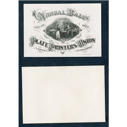"Annual Ball Plate Printers' Union, 1873 ""Ladies Ticket"" Invitation."