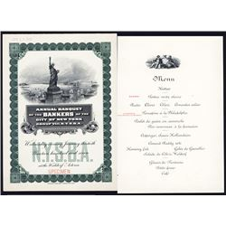 Annual Banquet of the Bankers of the City of NY Specimen Menu.