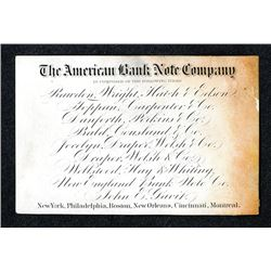 American Bank Note Company ca.1859 Business card Printed on White Coated Stock.
