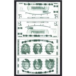 Giori Test Banknote Uncut Sheet of 4 Notes.