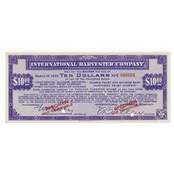 International Harvester, 1933 Specimen Depression Scrip.